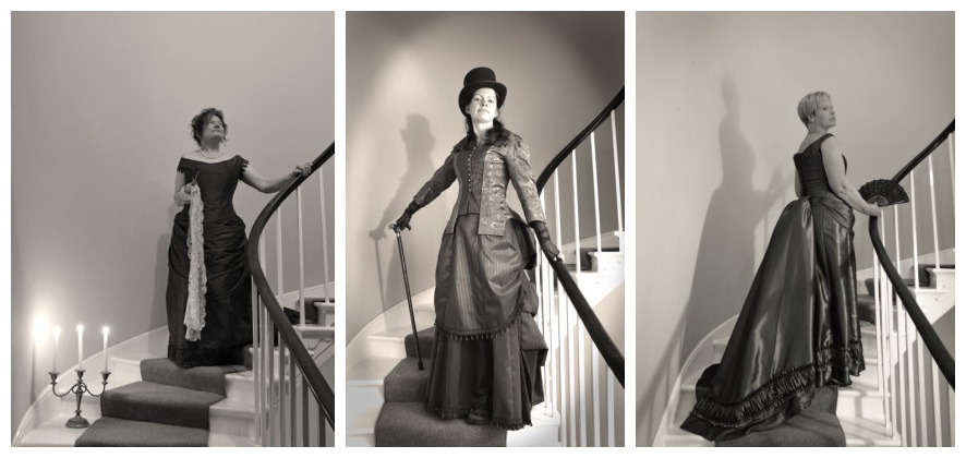 Stunning photos of costumes from Rustle and Bustle in black and white